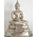 Buddha 17 cm. Forsølvet