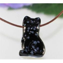 Snefnug obsidian katte vedhæng