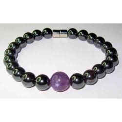 Magnetarmbånd med ametyst perle