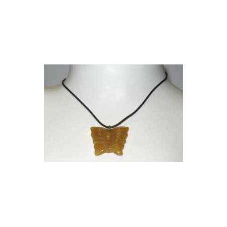 Halskæde med gul jade sommerfugl