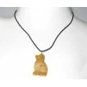 Halskæde med hund i gul jade