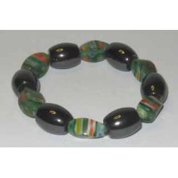 Magnetterapi armbånd + grønlige perler