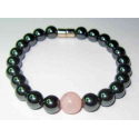 Magnetterapi armbånd med rosekvarts perle