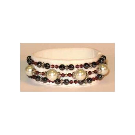 Magnetarmbånd med hvide perler