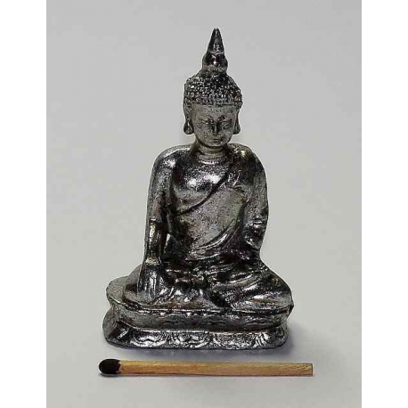 Buddha 07,5 cm. Sølvfarvet c