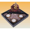 Happy Buddha, with 3 tealights and stones