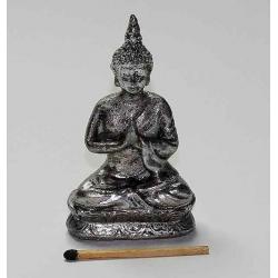 Buddha 07,5 cm. Sølvfarvet b