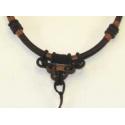 Knyttet halskæde til vedhæng, brun 2.