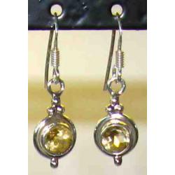 Sølv ørehænger med guld Topas, b