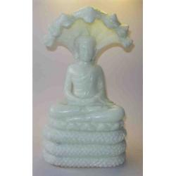 Sten Buddha siddende på slange 32 cm.